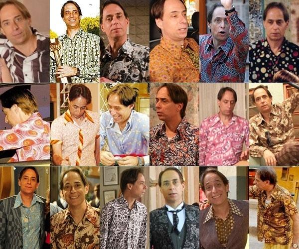 """Quadriculadas, listradas, de bolinhas... Nos treze anos de """"A Grande Família"""", Agostinho Carrara exibiu uma coleção de belas camisas. Separamos algumas delas para ficar na nossa lembrança"""