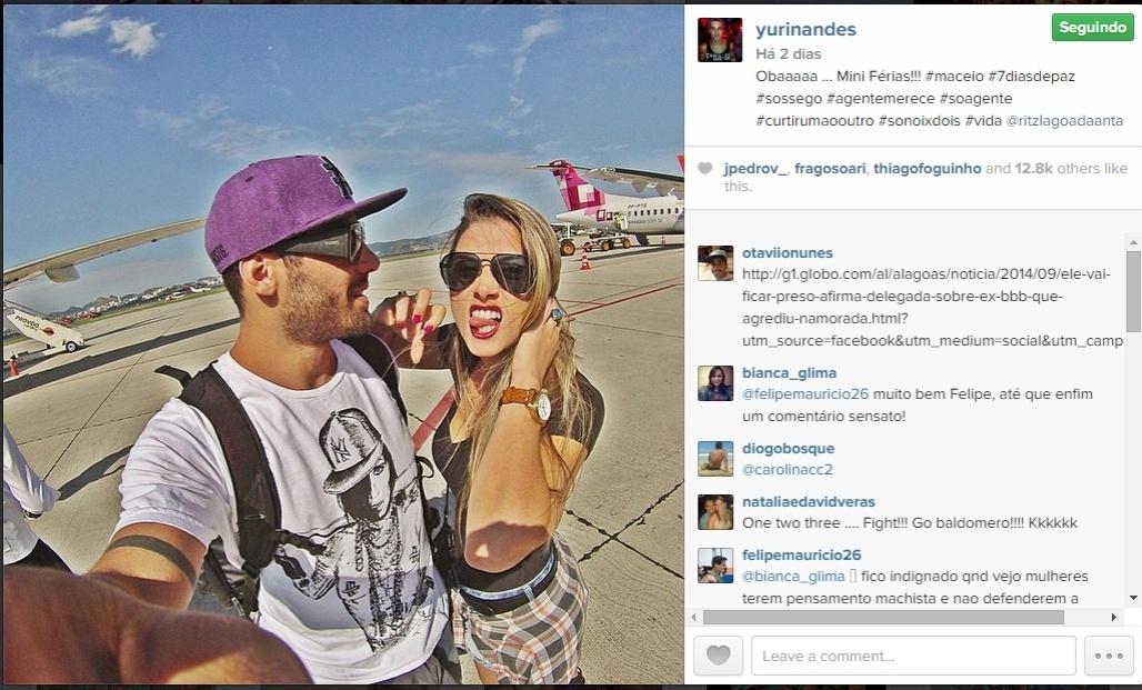 3.set.2014 - O ex-BBB Yuri e a namorada, a bailarina do