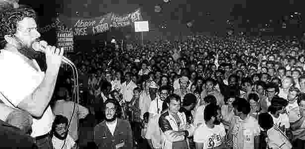 Lula discursa a trabalhadores em 1982 - Jorge Araújo/Folhapress - Jorge Araújo/Folhapress