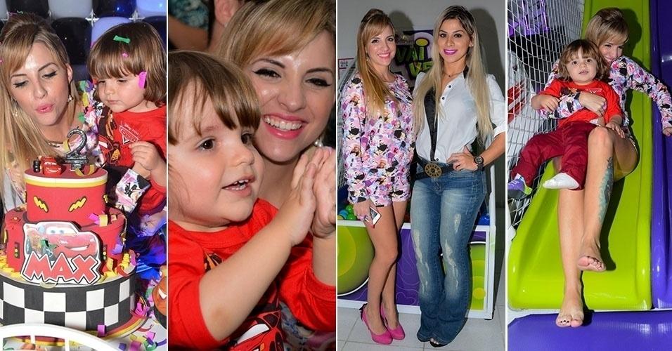 7.set.2014 - Clara Aguilar comemora o aniversário de dois anos do filho, Max, em um buffet, em Osasco, na grande São Paulo.
