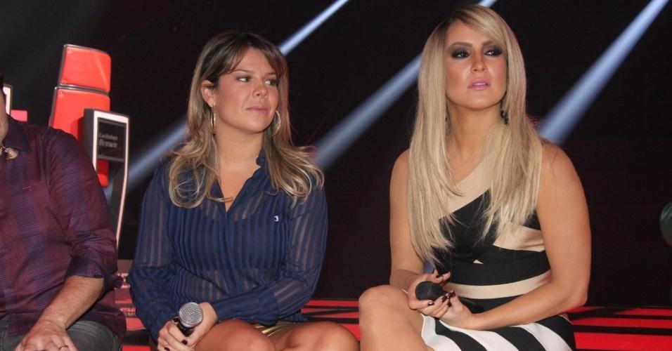 """9.set.2014 - Claudia Leitte e Fernanda Souza durante apresentação da 3° edição do """"The Voice Brasil"""", que estreia dia 18 de setembro, na Globo"""
