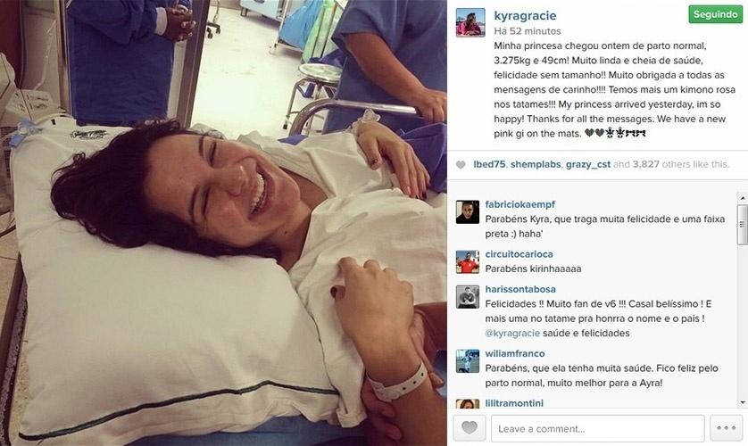 9.set.2014 - Kyra Gracie comemora nascimento da filha Ayra com foto na maternidade.