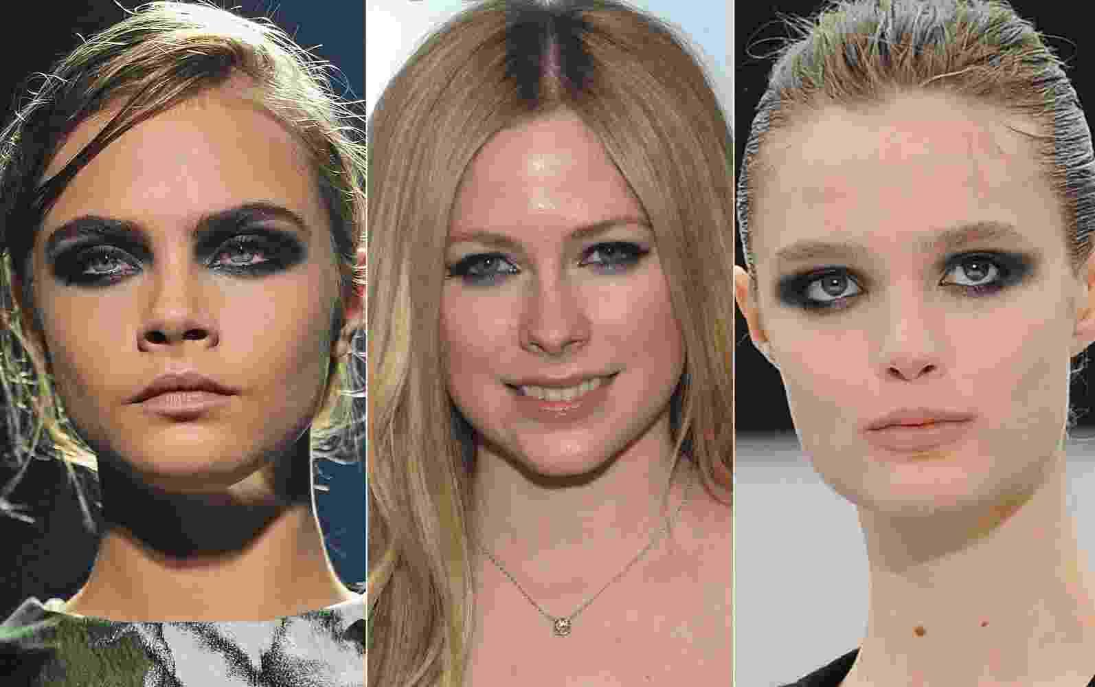 Cara Delenvigne em Lanvin, Avril Lavigne e modelo em Just Cavalli - Getty Images/Montagem/UOL