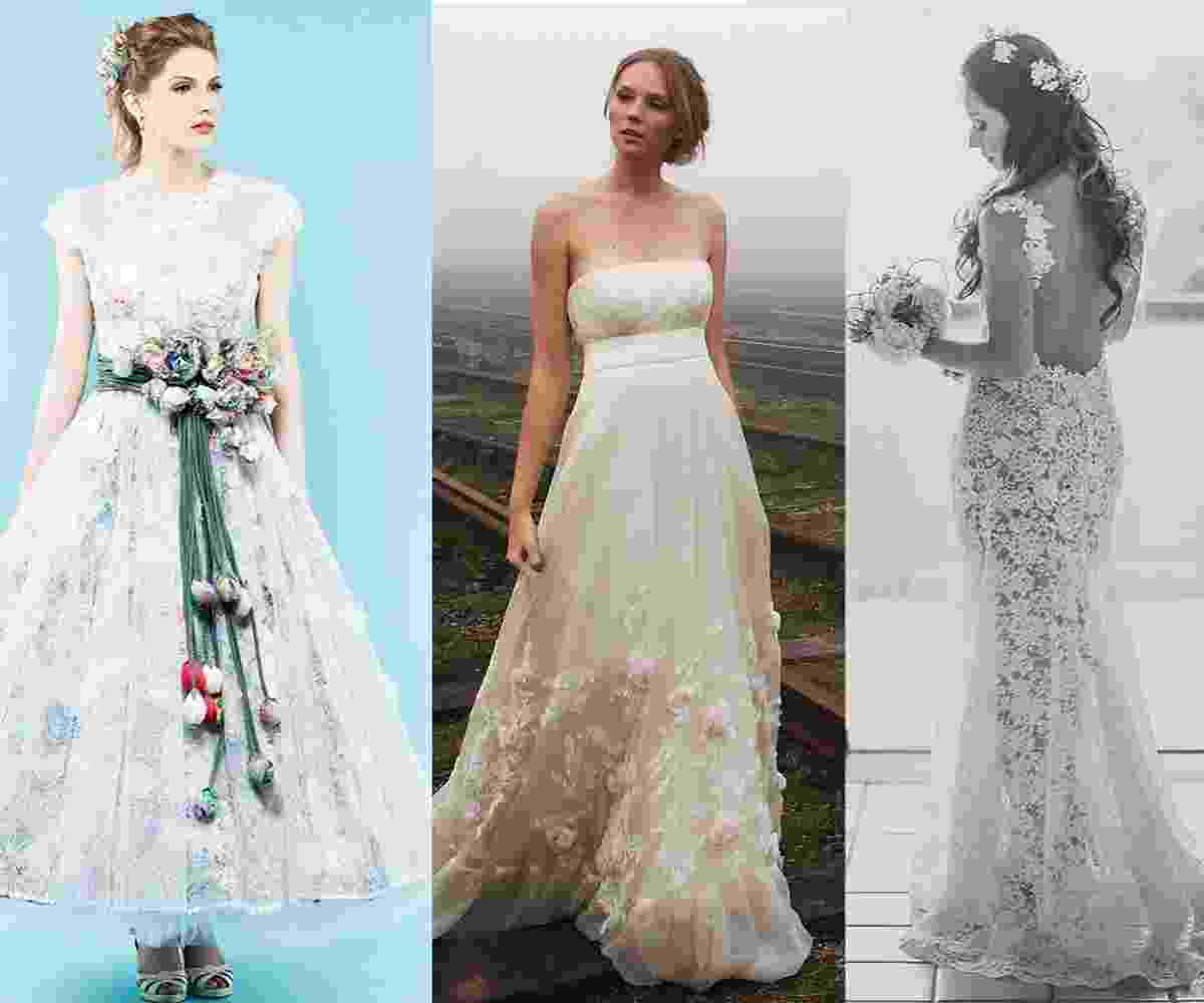 vestidos florais noivas - Arte/UOL