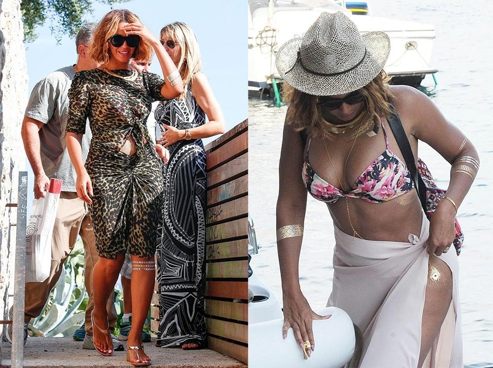 10.set.2014 - Beyoncé investe nas tatuagens de ouro em looks de férias