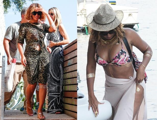 10.set.2014 - Em passeio pela pela França, Beyoncé exibe tatuagem de ouro no joelho. Já à direita, dias antes, a cantora investe na mesma tendência para ir à praia - GrosbyGroup