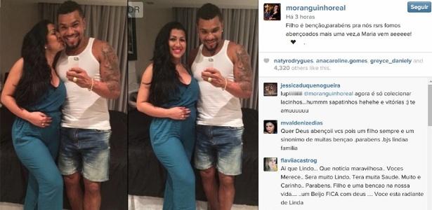 Ellen Cardoso posta foto ao lado de Naldo com a mão na barriga