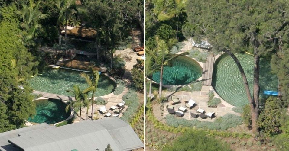 A mansão de Brad Pitt em Los Angeles é bem arborizada e tem até plantações, além de uma piscina protegida pelas árvores