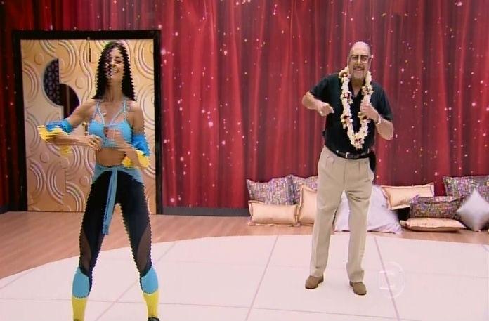 """14.set.2014 - Miele e Aline Riscado durante os ensaios do """"Dança dos Famosos"""", antes de ter que interromper a participação ao programa"""