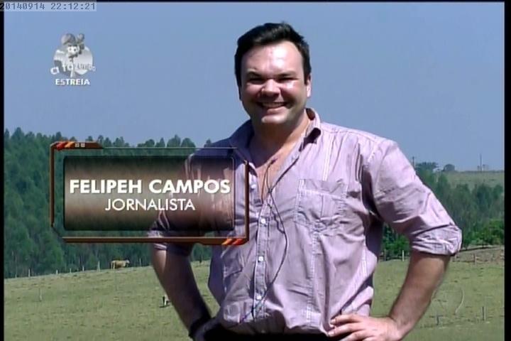 """14.set.2014 - O jornalista Felipeh Campos em """"A Fazenda 7"""""""