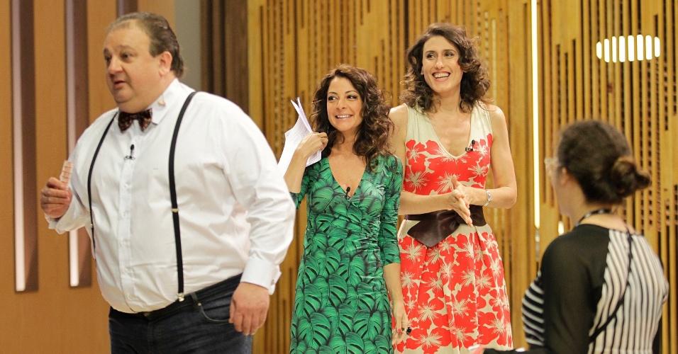 """12.set.2014 - Os chefs de cozinha Erick Jacquin, Paola Carosella e Ana Paula Padrão nos bastidores do """"Masterfchef"""""""