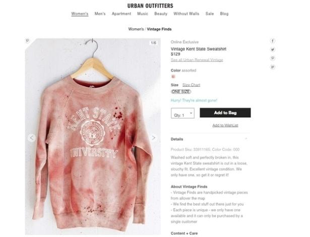 15.set.2014 - Urban Outfitters cria moletom que relembra massacre na Universidade de Kent State, nos EUA, e recebe reclamações na internet - Reprodução