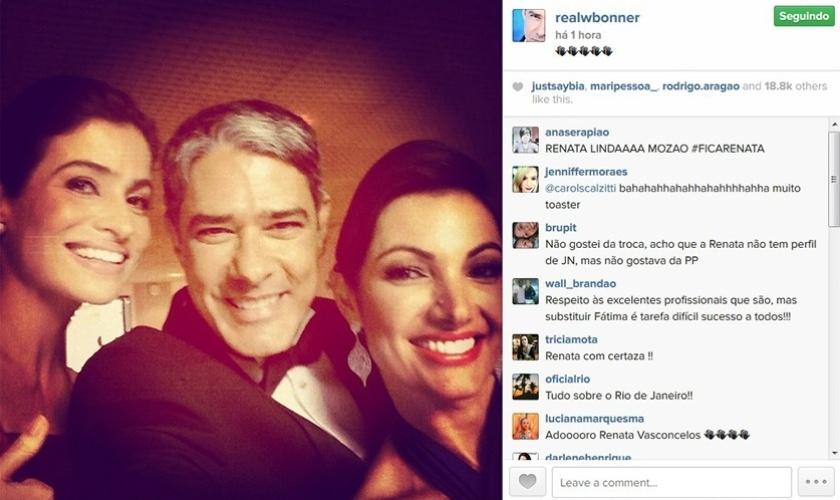 15.set.2014 - William Bonner posta selfie com Renata Vasconcelos e Patrícia Poeta após anúncio da troca de apresentadoras no