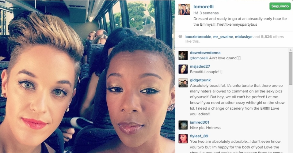 "A escritora de ""Orange Is the New Black"", Lauren Morelli, e a atriz Samira Wiley"