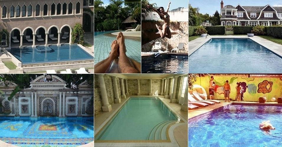 Redondas, azuis, verdes, aquecidas, com fonte... Veja os tipos de piscinas que as celebridades escolhem para curtir em casa