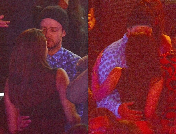 21.set.2014 - Justin Timberlake aparece em clima de intimidade com morena em uma balada de Paris, na França. Ele é casado com a atriz Jessica Biel