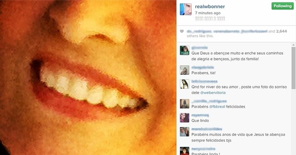 17.09.2014 - William Bonner publica em seu Instagram foto que mostra o sorriso de sua mulher, a jornalista Fátima Bernardes, no dia de seu aniversário