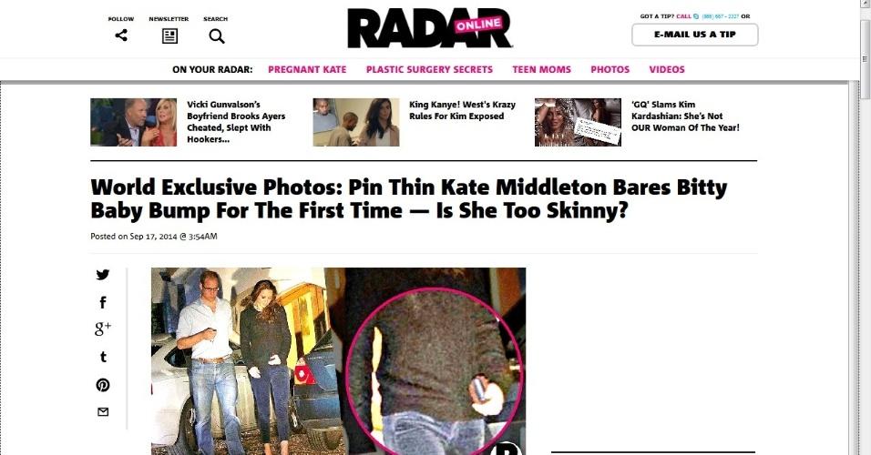 Radar Online mostra primeira foto de Kate Middleton após anúncio de que ela espera seu segundo filho com o Príncipe William