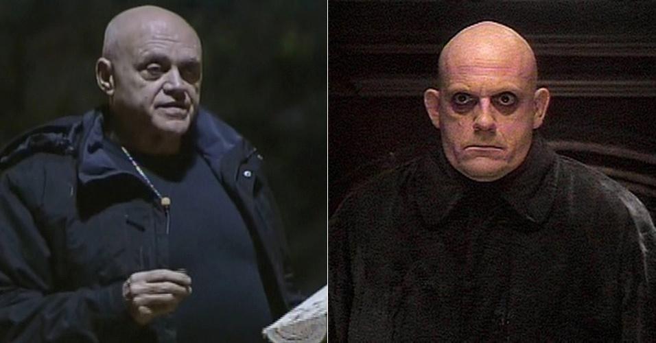 """Oscar Maroni de """"A Fazenda 7"""" poderia ser irmão gêmeo do personagem Tio Chico de """"A Família Addams"""""""