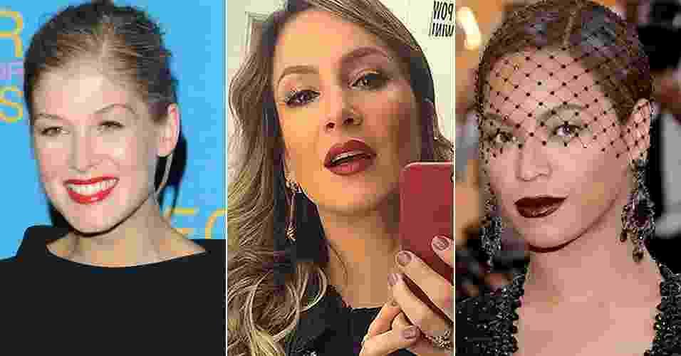 Rosamund Pike, Cláudia Leitte e Beyoncé exibem lábios com batons acabamento gloss - Getty Images/Reprodução Instagram