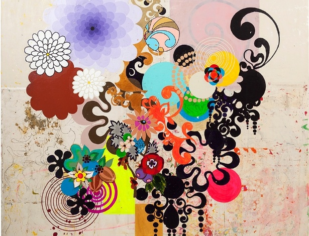 """Reprodução da obra """"Mariposa"""" (2004), de Beatriz Milhazes, exposta em Miami - Beatriz Milhazes/Galeria Almeida & Dale"""
