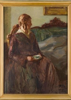 """""""The coffee hour. Fanny, the sister of the artist"""" (1922), obra de Jehudo Epstein - Reprodução"""