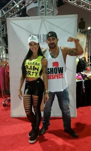 Aline e o marido Rodrigo Riscado participaram do Mr Olympia, considerado o maior evento de fisiculturismo do mundo, em Las Vegas, nos Estados Unidos