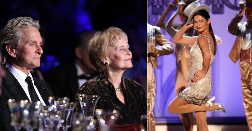 """11.dez.2009 - Ao lado da mãe, Michael Douglas assiste à performance de homenagem de Catherine Zeta-Jones durante o """"AFI Life Achievement Award: A Tribute to Michael Douglas"""" no Sony Pictures Studios, na Califórnia, nos EUA. Michael completou 43 anos de carreira desde seu primeiro filme """"À Sombra de um Gigante"""", em 1966"""