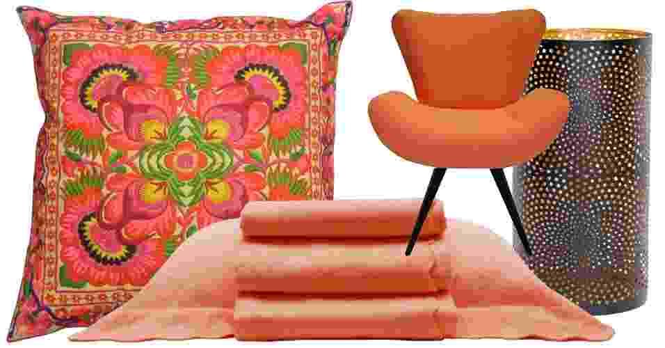 Combinação 5 - O laranja é uma cor vibrante que confere vivacidade e alegria à decoração. O matiz pode ser usado em ambientações étnicas, modernas e divertidas, inclusive, no quarto - Divulgação/ Montagem UOL