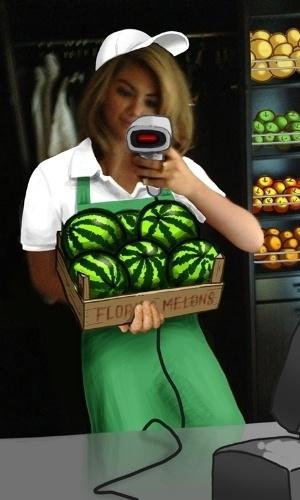 Em uma das ilustrações, Kate Upton aparece com uma caixa de melancias na mão