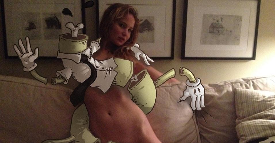 Jennifer Lawrece tem seu corpo ilustrado em foto nua.  O site Unfappening divulga imagens artísticas com a colaboração de ilustradores holandeses em referência ao vazamentos de fotos nuas de famosas