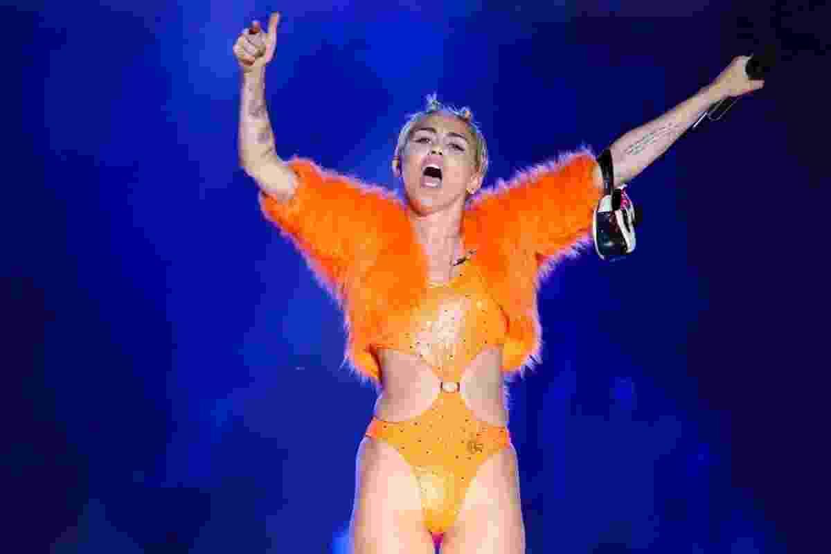 26.set.2014 - A cantora Miley Cyrus se apresenta no Anhembi, em São Paulo - Manuela Scarpa/Photo Rio News