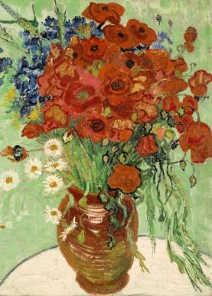 """Fotografia cedida pela Sotheby""""s mostra a obra """"Vaso com Margaridas e Papoulas"""", de Vincent Van Gogh, pintura que a casa de leilões espera vender por um valor entre US$ 30 e US$ 50 milhões - Sotheby""""s/EFE"""