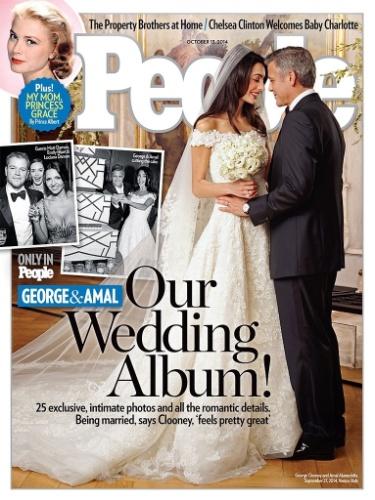 """30.set.2014 - A revista americana """"People"""" divulgou a capa de sua próxima edição na qual aparece o casal George Clooney e Amal Allamudim"""
