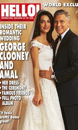 """30.set.2014 - Revista """"Hello"""" divulga capa com fotos do casamento de George Clooney e Amal Alamuddin"""