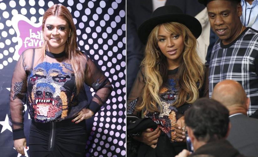 """1.out.2014 - Nos Estados Unidos, Beyoncé usa o mesmo figurino que Preta Gil vestiu em seu aniversário, dois meses antes, e a brasileira comemora: """"Eu usei primeiro"""", disse ela no Instagram"""