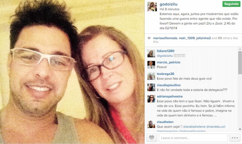 2.out.2014 - Zezé di Camargo e sua ex-mulher, Zilu, fazem posts iguais em suas respectivas contas do Instagram para provar que não existem guerra entre eles conforme tem sido especulado