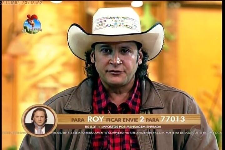 """2.out.2014 - Roy Rosselló disputa primeira eliminação de """"A Fazenda 7"""" contra Oscar Maroni"""