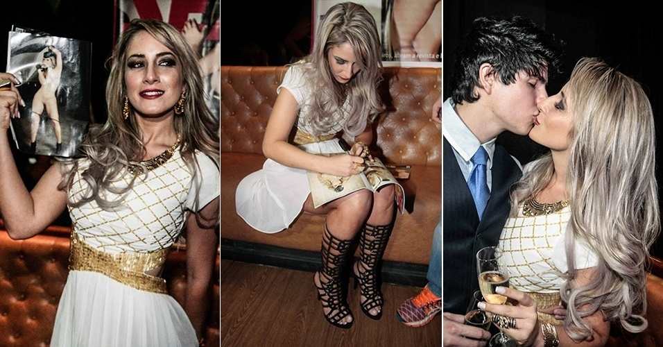 """2.set.2014 - A ex-aeromoça Jaque Jataí lança sua revista """"Sexy"""" de outubro no Bar Dezoito, em São Paulo"""