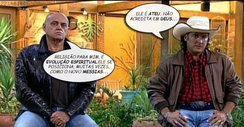 """Álbum balãozinho - Oscar Maroni e Roy Rosselló trocam farpas sobre religião ao disputarem a permanência em """"A Fazenda 7"""""""