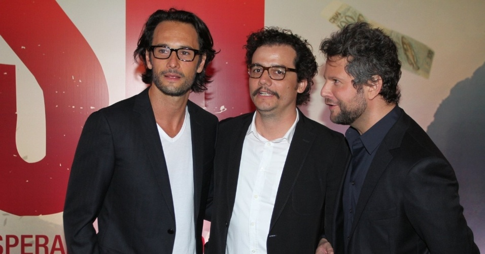7.out.2014 - Os atores Rodrigo Santoro, Wagner Moura e Selton Mello na pré-estreia do filme