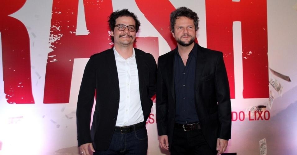 7.out.2014 - Os atores Wagner Moura e Selton Mello na pré-estreia do filme