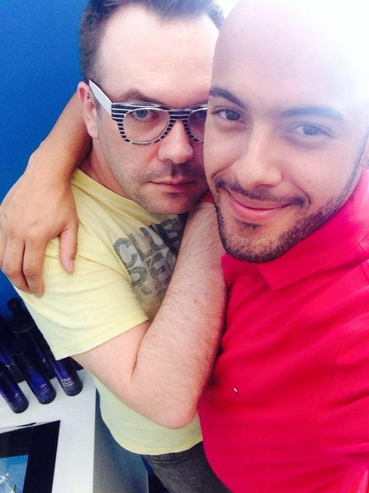 Felipeh Campos com o ex-marido e atualmente amigo Rafael Scapucim