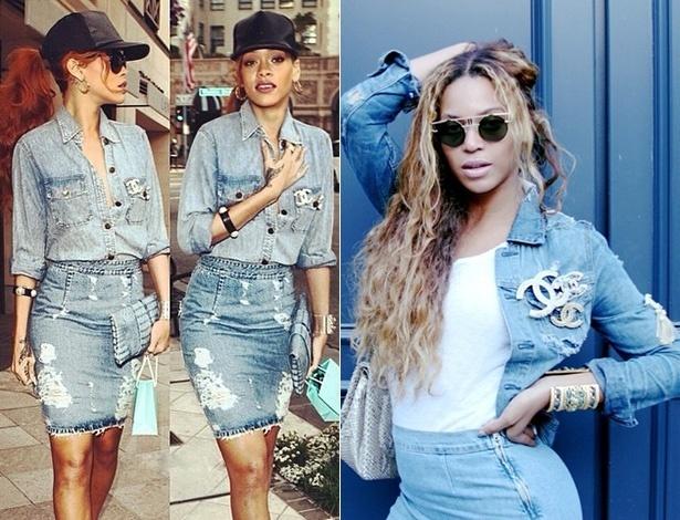As cantoras Rihanna e Beyoncé já aderiram ao visual jeans total - Reprodução/Instagram