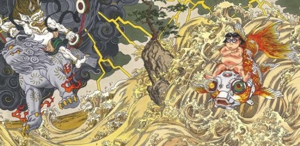 Detalhe do mural de Katsuhiro Otomo, que mistura cyberpunk com elementos da mitologia japonesa - Divulgação