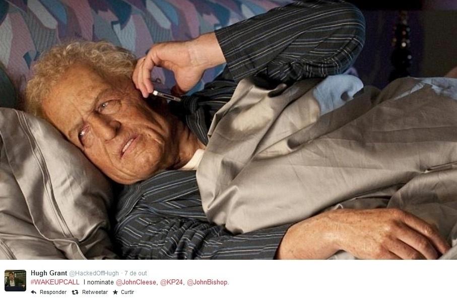 """Hugh Grant publica foto deitado na cama em prol da campanha """"Wake Up Call"""", que visa arrecadar fundos para ajudar mais de 6,5 milhões de crianças refugiadas da Síria. A ideia surgiu da ativista Jemima Khan, embaixadora da UNICEF e ex-namorada de Grant, e já começa a movimentar artistas assim como aconteceu com o """"Desafio do Balde de Gelo"""""""