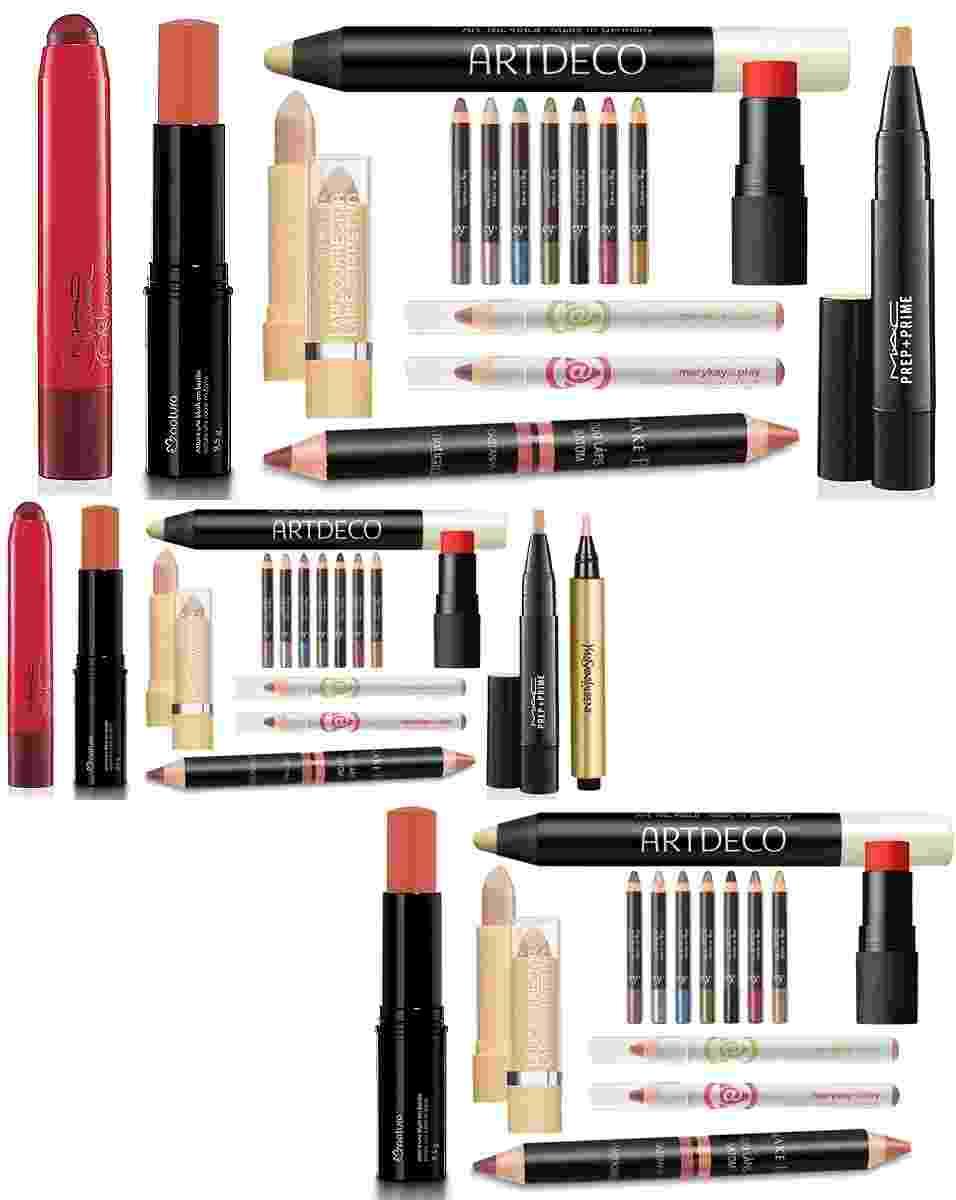 Maquiagem em formato de lápis, bastão e caneta facilita a aplicação - Divulgação
