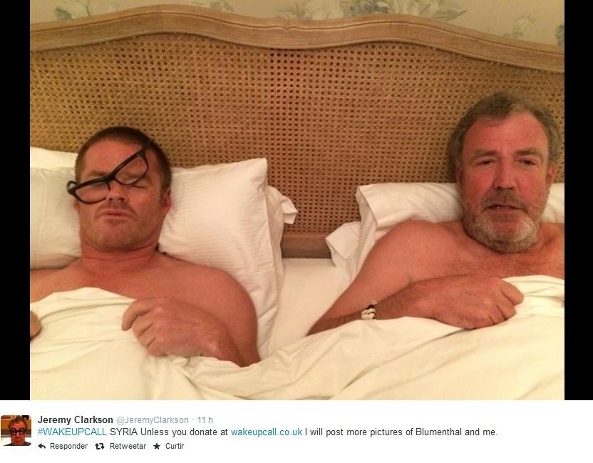"""O apresentador Jeremy Clarkson foi um dos famosos que entrou na onda da nova campanha virtual. Chamado de """"Wake Up Call"""", no desafio, as celebridades publicam na internet selfies de quando acordam acompanhadas do número 70007, que ainda não funciona no Brasil, e automaticamente é feita uma doação de cinco euros para a instituição"""