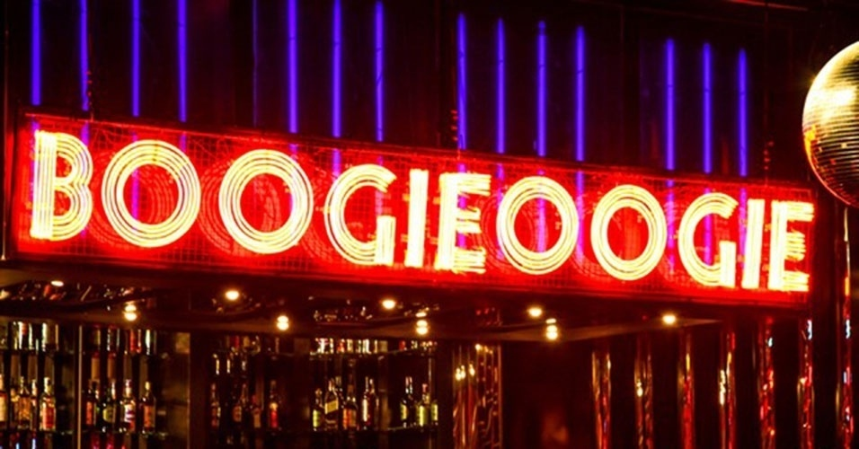 Letreiro da boate Boorgie Oogie, da novela de Rui Vilhena