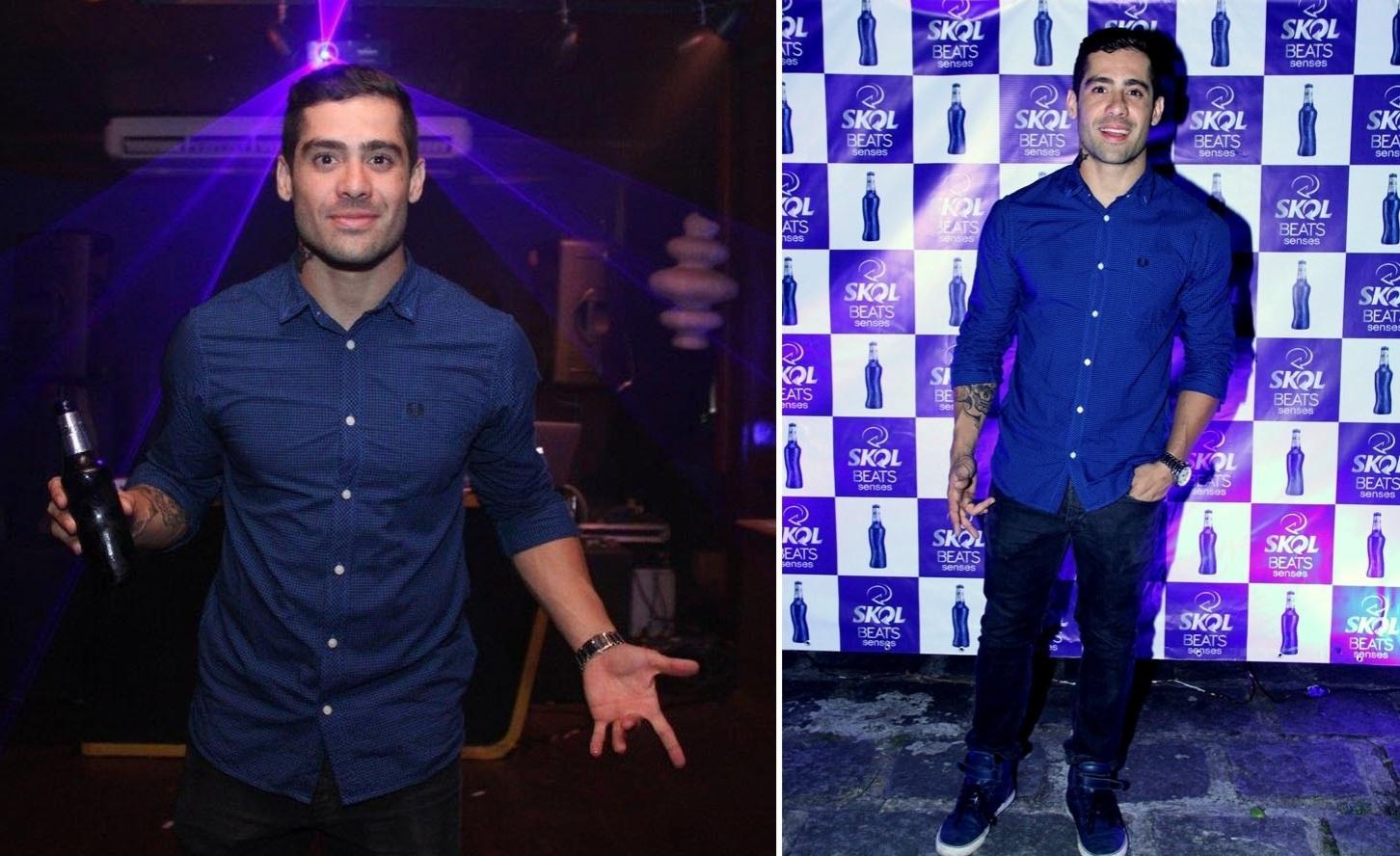 9.out.2014 - Yuri Fernandes marca presença na festa de lançamento da nova